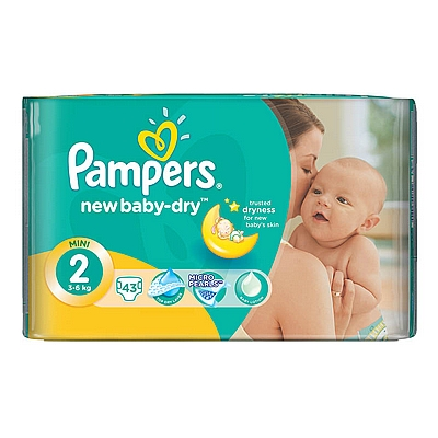 Pampers pelene Newborn Mini, vel. 2, 3-6 kg, carry pack, 43 kom