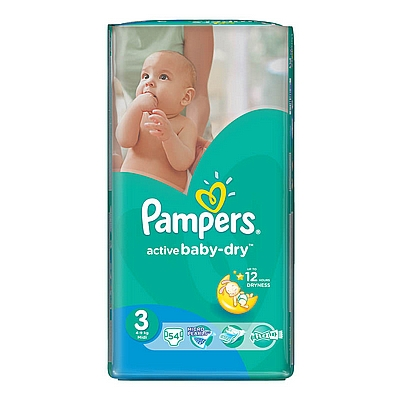 Pampers pelene Active baby Midi, vel. 3, 4-9kg, value pack, 54 kom