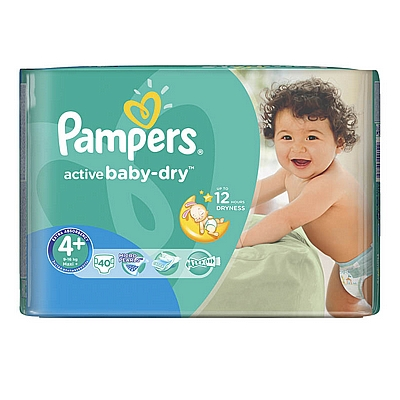 Pampers pelene Active baby Maxi plus, vel. 4+, 9-16 kg, value pack, 40 kom