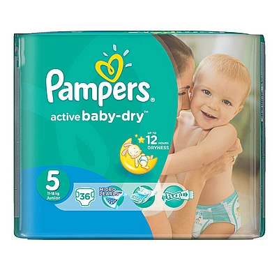 Pampers pelene Active baby Junior, vel. 5, 11-18 kg, value pack, 36 kom
