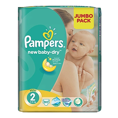 Pampers pelene New baby Mini, vel. 2, 3-6 kg, jumbo pack, 80 kom
