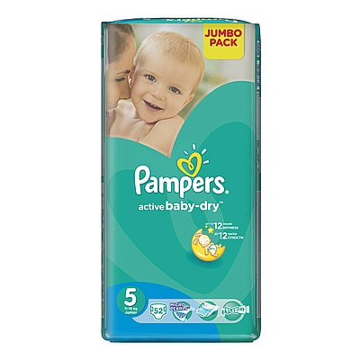 Pampers pelene Active baby Junior, vel. 5, 11-18 kg, jumbo pack, 52 kom