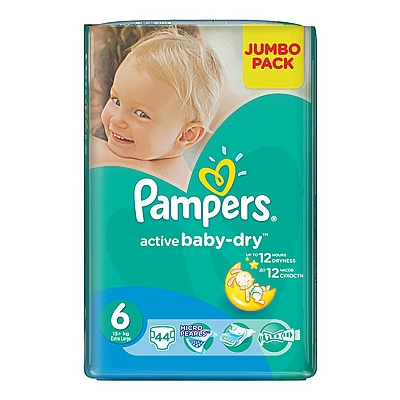 Pampers pelene Active baby XL, vel. 6, 15+ kg, jumbo pack, 44 kom