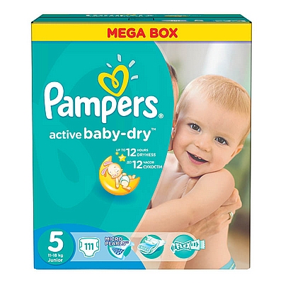 Pampers pelene Junior, vel. 5, 11-18 kg, mega box, 111 kom