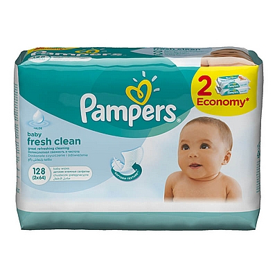 Pampers vlažne maramice Fresh Clean, 2x64 kom