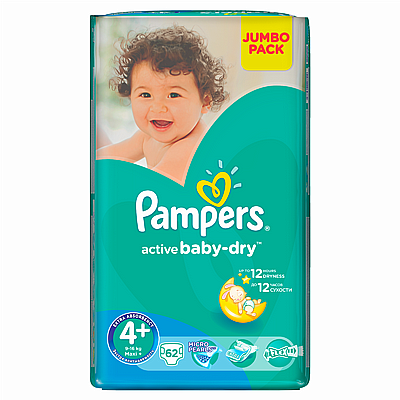 Pampers pelene Active baby Maxi plus, vel. 4+, 9-16 kg, jumbo pack, 62 kom