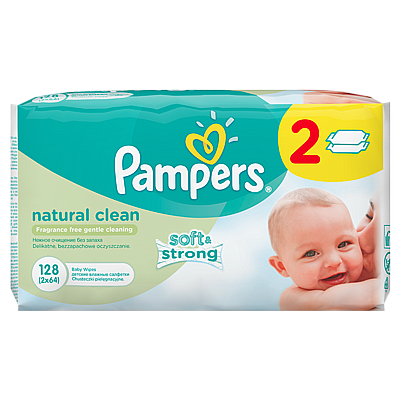 Pampers vlažne maramice Natural clean, 2x64 kom