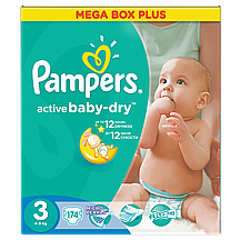 Pampers pelene Active baby Midi plus, vel. 3, 4-9 kg, mega box plus, 174 kom