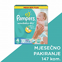Pampers pelene Active baby Maxi, vel. 4, 7-14 kg, mega box plus, 147 kom