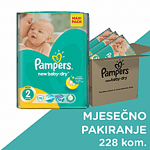Pampers pelene New baby Mini, vel. 2, 3-6 kg, mega box plus, 228 kom