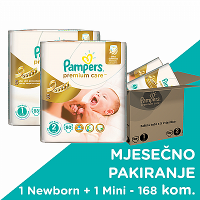 Pampers pelene Premium care Newborn+Mini, vel. 1+2, 2-5 kg+3-6 kg, 168 kom
