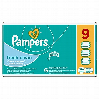 Pampers vlažne maramice Fresh Clean, 9x64 kom