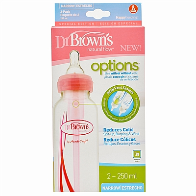 Dr. Browns bočica za hranjenje, Options, PP, roza, 250 ml, 2 kom
